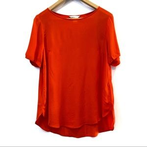 | H&M | Orange/red viscose blouse short sleeve Sz6